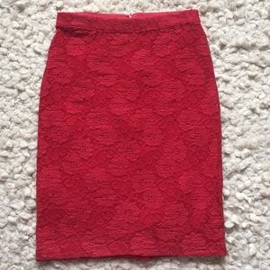 Anthropologie Maeve Red Lace Skirt Small